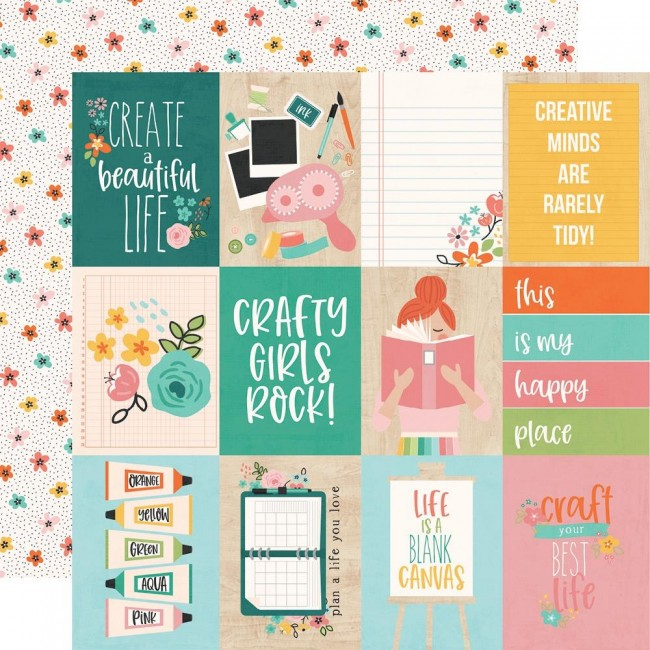 "Papel Estampado Doble Cara 12x12 Hey, Crafty Girl 3""X4"" Elements"