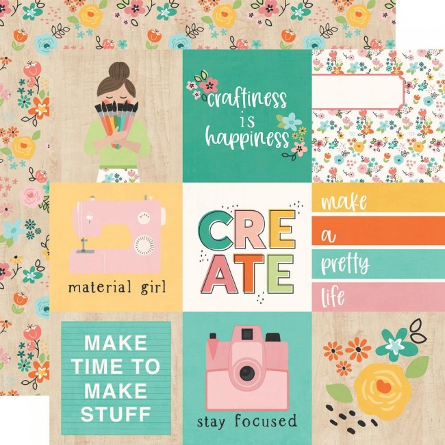 "Papel Estampado Doble Cara 12x12 Hey, Crafty Girl 4""X4"" Elements"