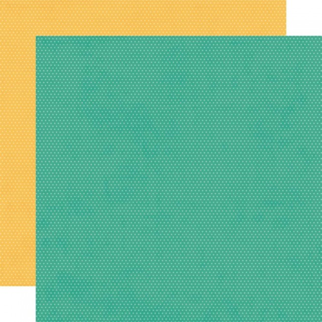 Papel Estampado Doble Cara 12x12 Hey. Crafty Girl Turquoise and Sunflower Dots Simple Basics