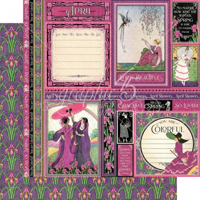 Papel Estampado Doble Cara 12x12 Fashion Forward April