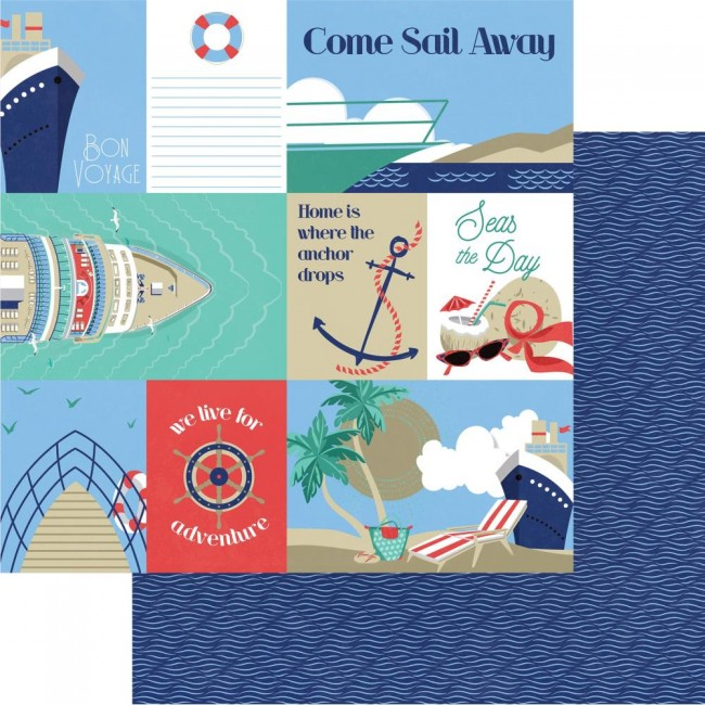 Papel Estampado Doble Cara 12x12 Set Sail Bon Voyage