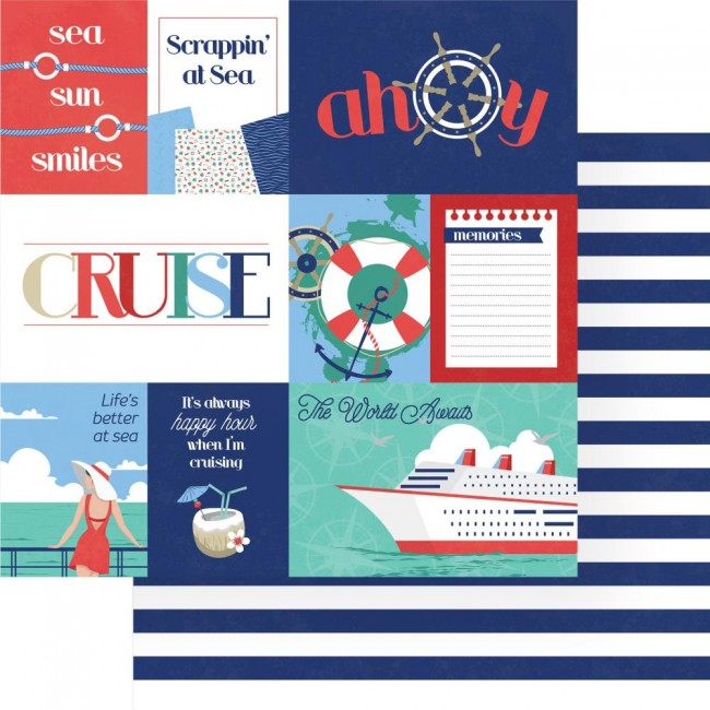 Papel Estampado Doble Cara 12x12 Set Sail Ahoy