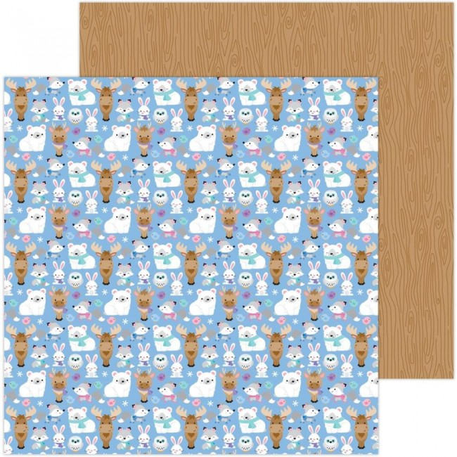 Papel Estampado Doble Cara 12x12 Winter Wonderland Snow Cozy