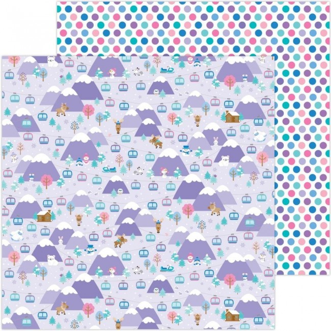 Papel Estampado Doble Cara 12x12 Winter Wonderland Hit The Slopes