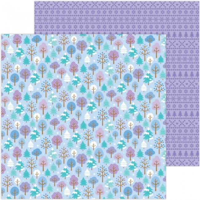 Papel Estampado Doble Cara 12x12 Winter Wonderland Frosted Forest