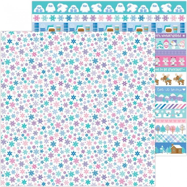 Papel Estampado Doble Cara 12x12 Winter Wonderland Snow Wonder