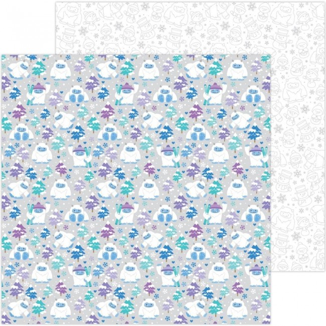 Papel Estampado Doble Cara 12x12 Winter Wonderland Yeti For Winter
