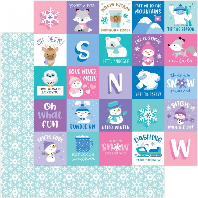 Papel Estampado Doble Cara 12x12 Winter Wonderland Snow Much Fun