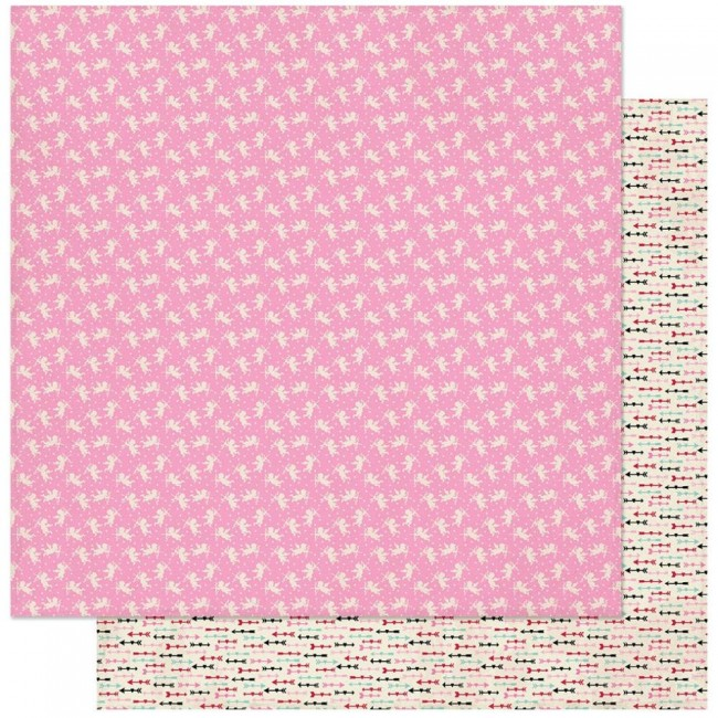 Papel Estampado Doble Cara 12x12 Love Notes #3 Pink & White Small Cupids
