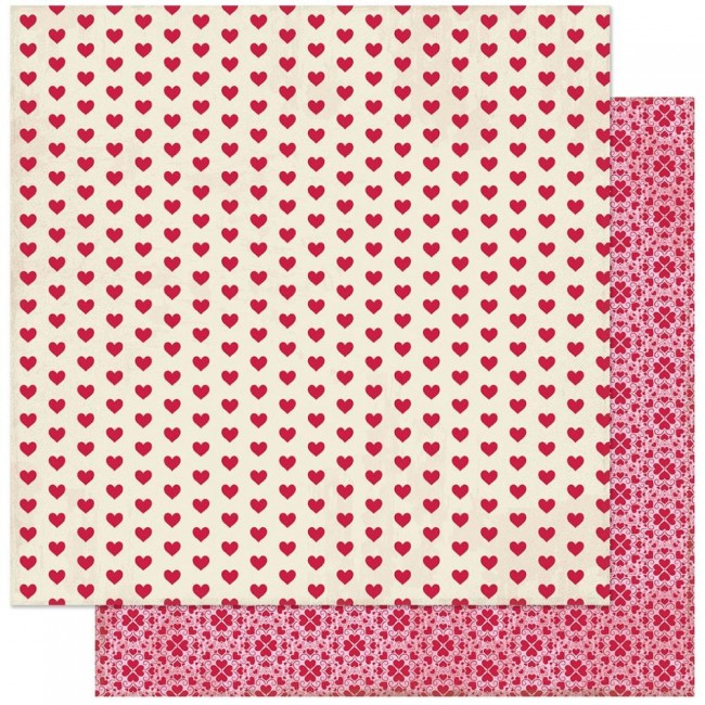 Papel Estampado Doble Cara 12x12 Love Notes #4 Red Hearts On Antique White