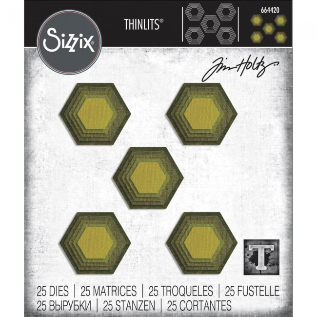 Thinlits Stacked Tiles, Hexagons Tim Holtz