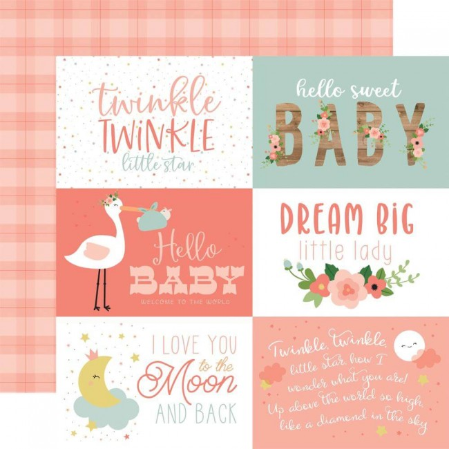 "Papel Estampado Doble Cara 12x12 Baby Girl 6""X4"" Journaling Cards"