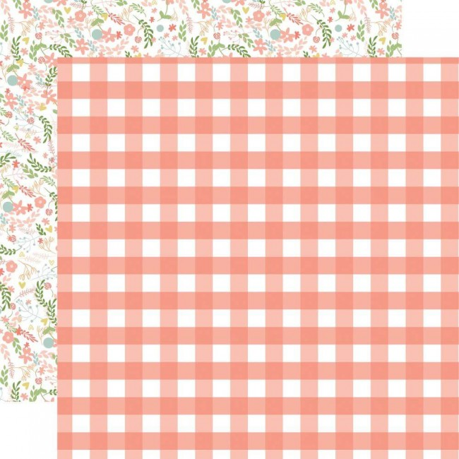 Papel Estampado Doble Cara 12x12 Baby Girl Girl Gingham