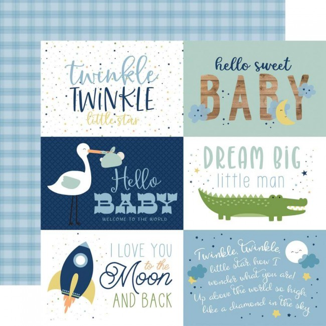 "Papel Estampado Doble Cara 12x12 Baby Boy 6""X4"" Journaling Cards"