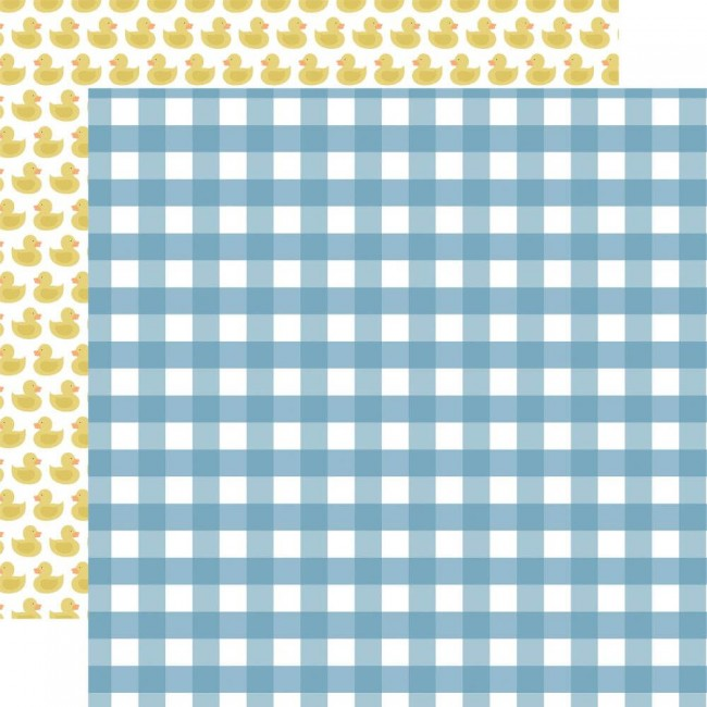 Papel Estampado Doble Cara 12x12 Baby Boy Boy Gingham