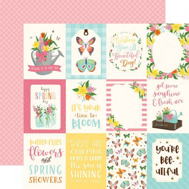 "Papel Estampado Doble Cara 12x12 I love Spring 3""X4"" Journaling Cards"