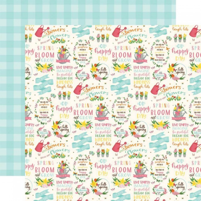 Papel Estampado Doble Cara 12x12 I love Spring Hello Spring