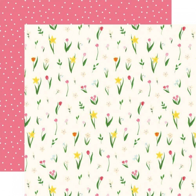 Papel Estampado Doble Cara 12x12 I love Spring May Flowers