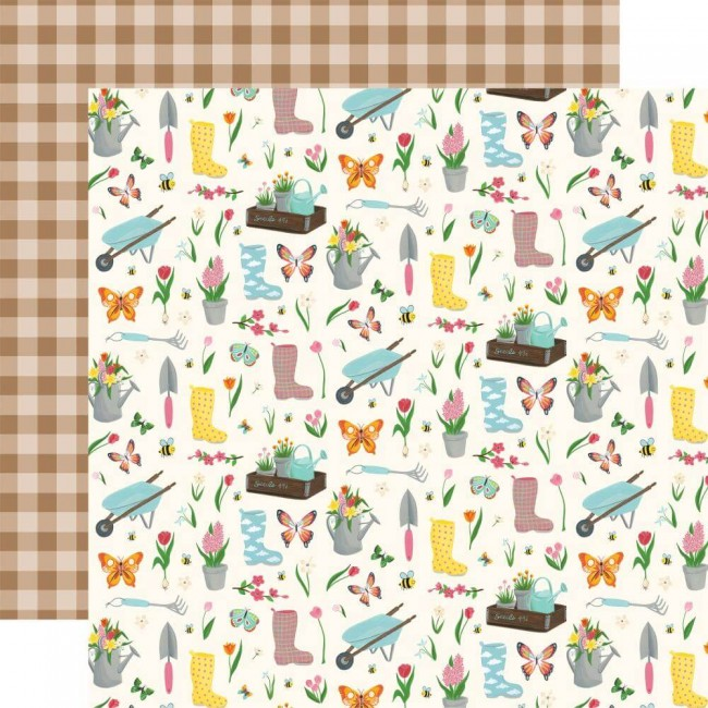 Papel Estampado Doble Cara 12x12 I love Spring Garden Party