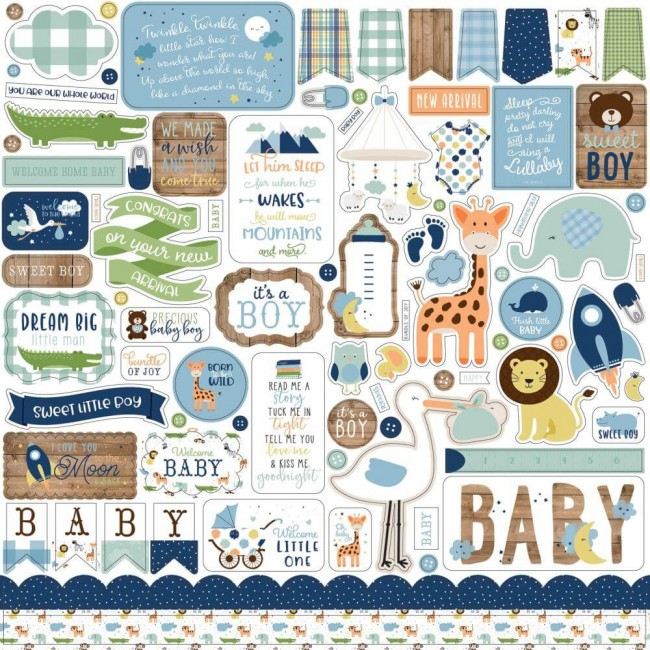 Pegatinas 12x12 Baby Boy Elements