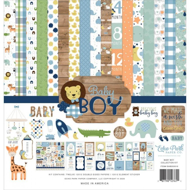 Kit Papeles Estampados 12x12 Baby Boy