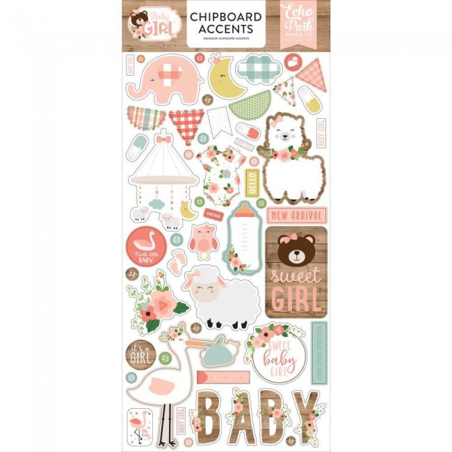 Chipboard 6x13 Baby Girl Accents