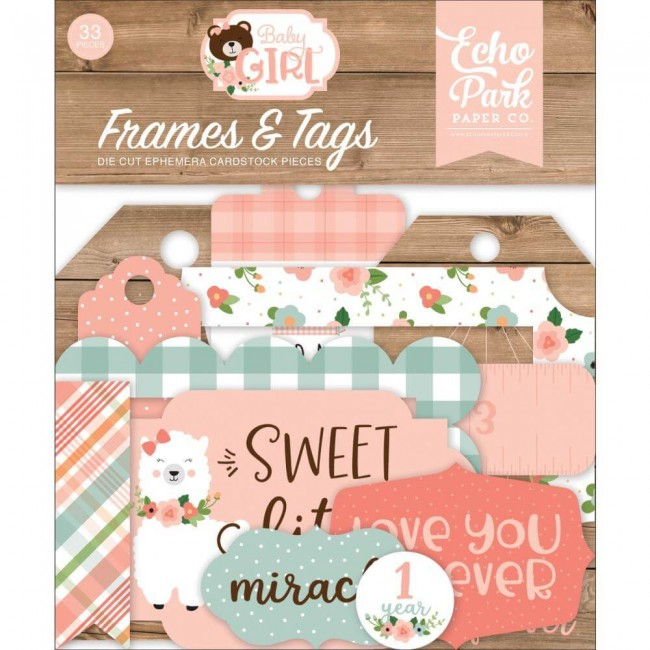 Die Cuts Baby Girl Frames & Tags