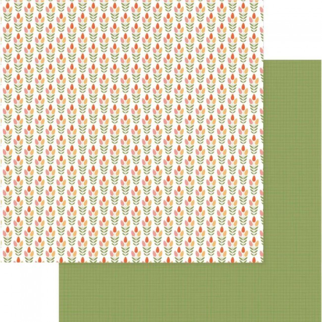 Papel Estampado Doble Cara 12x12 Tulla & Norbert Tip Toe Through The Tulips
