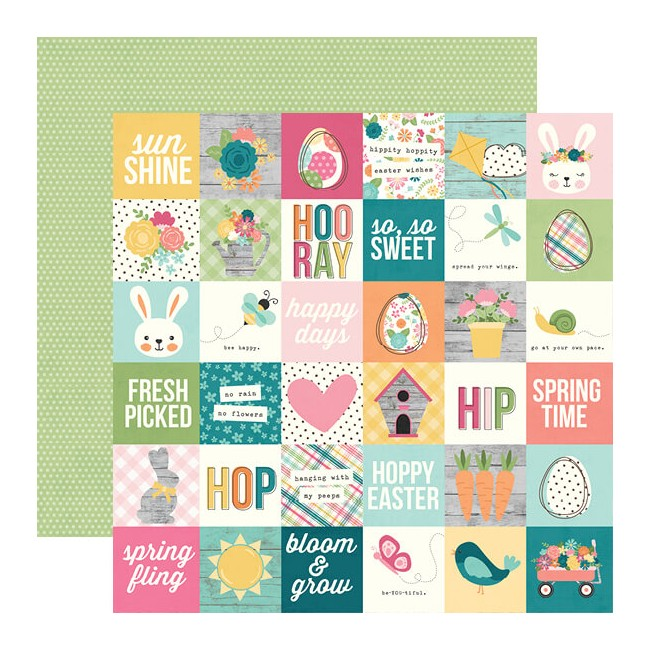 "Papel Estampado Doble Cara 12x12 Hip Hop Hooray 2""X2"" Elements"