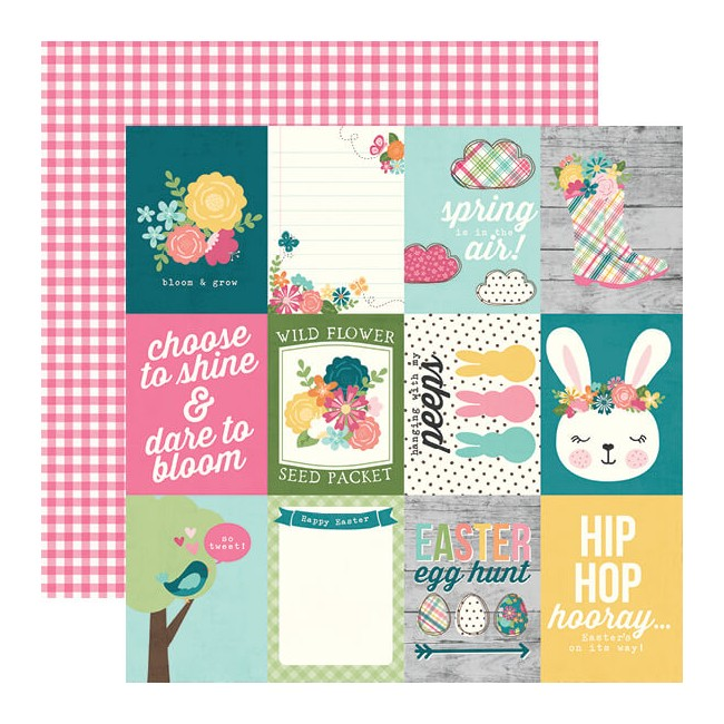 "Papel Estampado Doble Cara 12x12 Hip Hop Hooray 3""X4"" Elements"