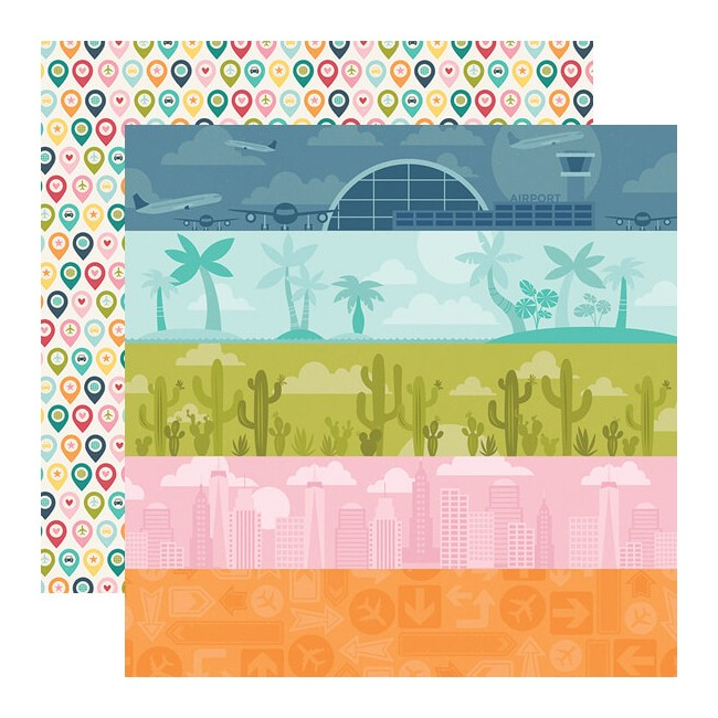 Papel Estampado Doble Cara 12x12 Going Places Detours