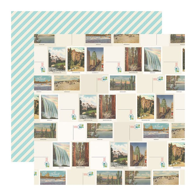 Papel Estampado Doble Cara 12x12 Going Places Let's Get Lost