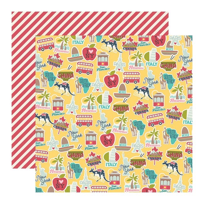 Papel Estampado Doble Cara 12x12 Going Places Around The World