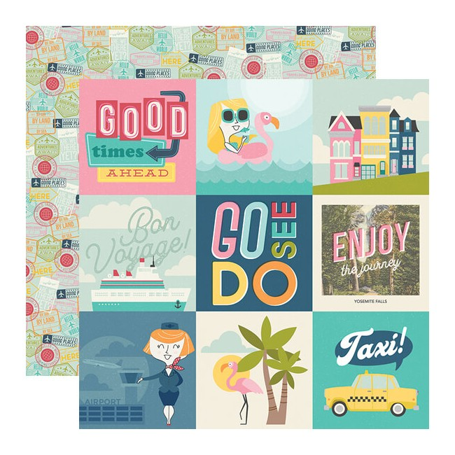 "Papel Estampado Doble Cara 12x12 Going Places 4""X4"" Elements"