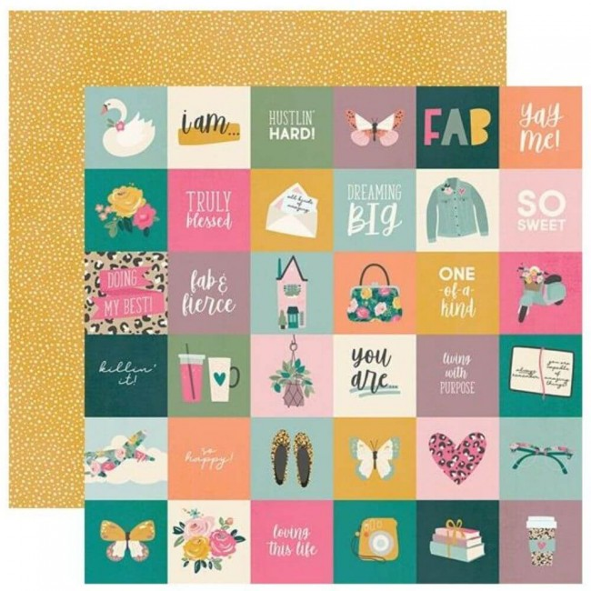 "Papel Estampado Doble Cara 12x12 I Am 2020 2""X2"" Elements"