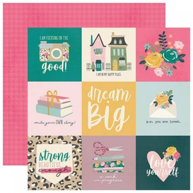 "Papel Estampado Doble Cara 12x12 I Am 2020 4""X4"" Elements"