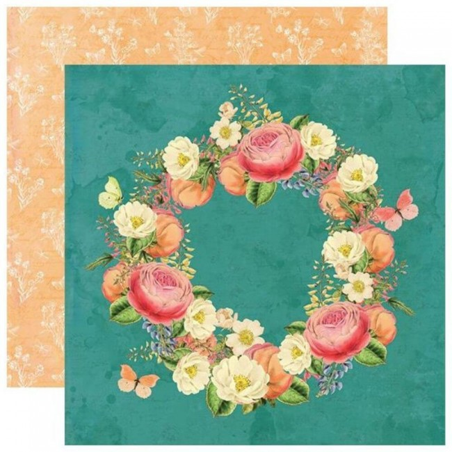 Papel Estampado Doble Cara 12x12 Simple Vintage Garden District Love More