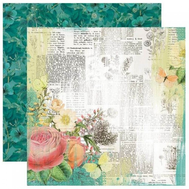 Papel Estampado Doble Cara 12x12 Simple Vintage Garden District Live For Today
