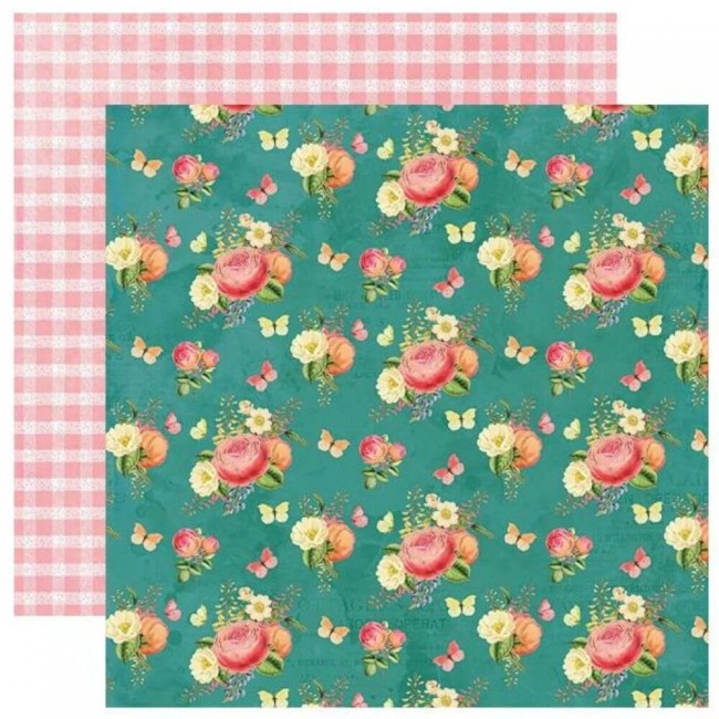 Papel Estampado Doble Cara 12x12 Simple Vintage Garden District Celebrate Today
