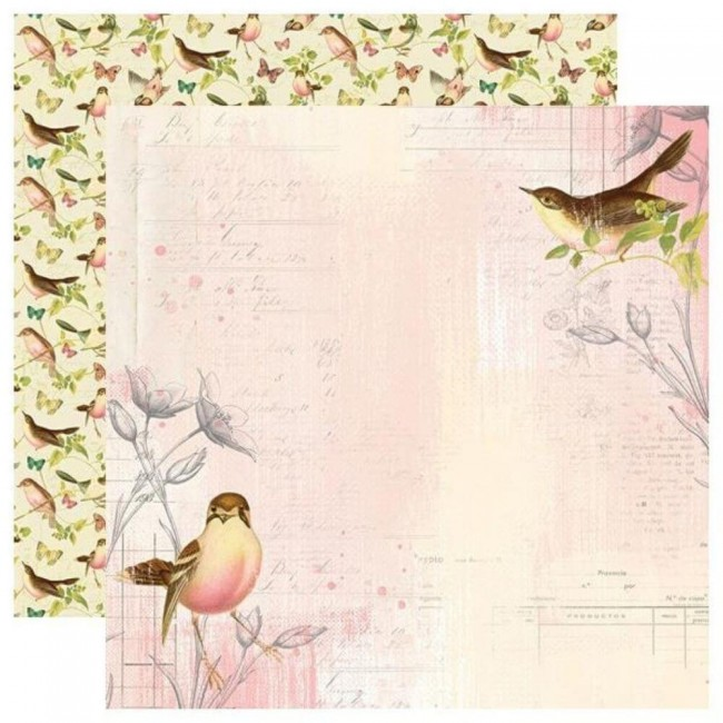 Papel Estampado Doble Cara 12x12 Simple Vintage Garden District Use Your Wings