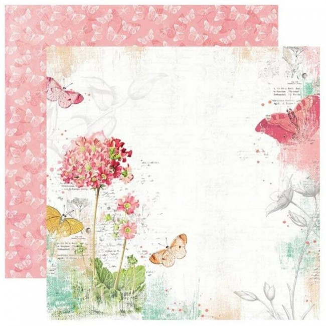 Papel Estampado Doble Cara 12x12 Simple Vintage Garden District Never Stop Dreaming