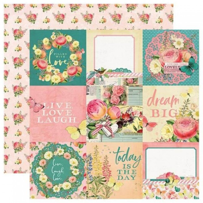 "Papel Estampado Doble Cara 12x12 Simple Vintage Garden District 4""X4"" Elements"