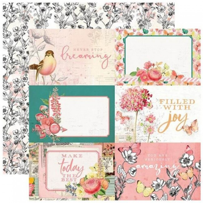 "Papel Estampado Doble Cara 12x12 Simple Vintage Garden District 4""X6"" Elements"