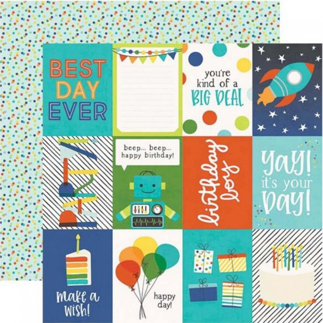 "Papel Estampado Doble Cara 12x12 Birthday Blast 3""X4"" Elements"