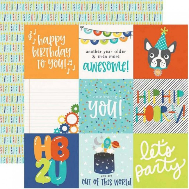 "Papel Estampado Doble Cara 12x12 Birthday Blast 4""X4"" Elements"