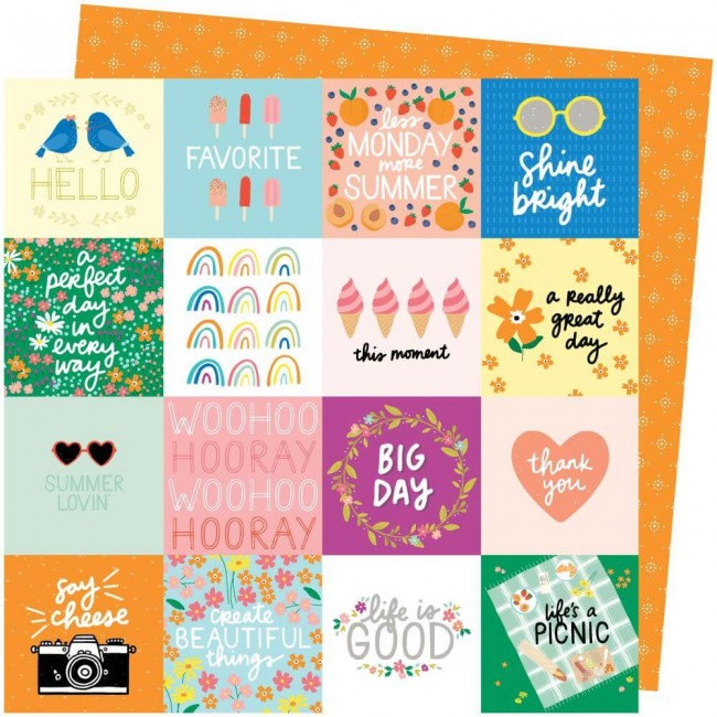 Papel Estampado Doble Cara 12x12 Picnic In The Park Amy Tangerine Life's A Picnic