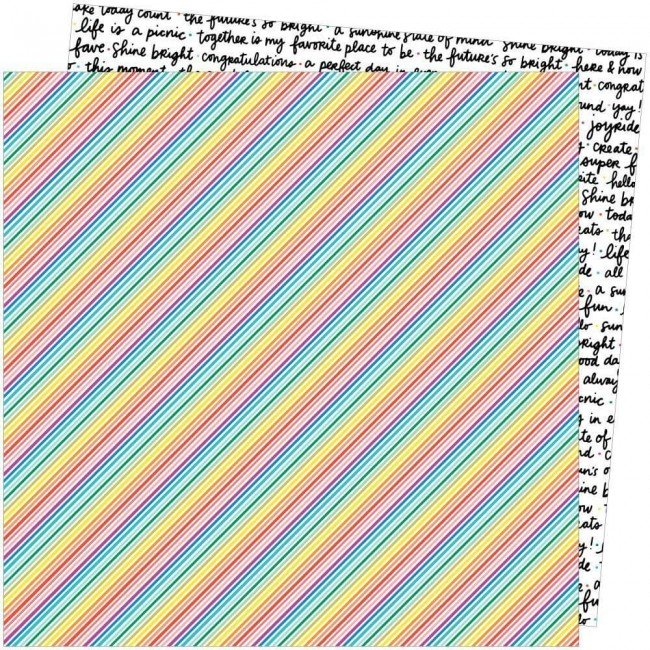 Papel Estampado Doble Cara 12x12 Picnic In The Park Amy Tangerine Bright Lines