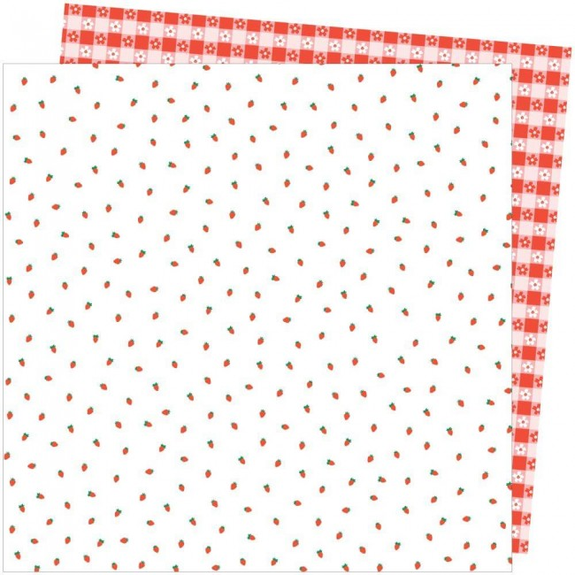 Papel Estampado Doble Cara 12x12 Picnic In The Park Amy Tangerine Berry Sweet