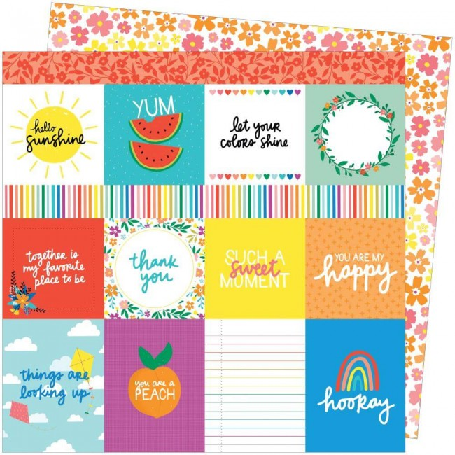Papel Estampado Doble Cara 12x12 Picnic In The Park Amy Tangerine You Are My Happy