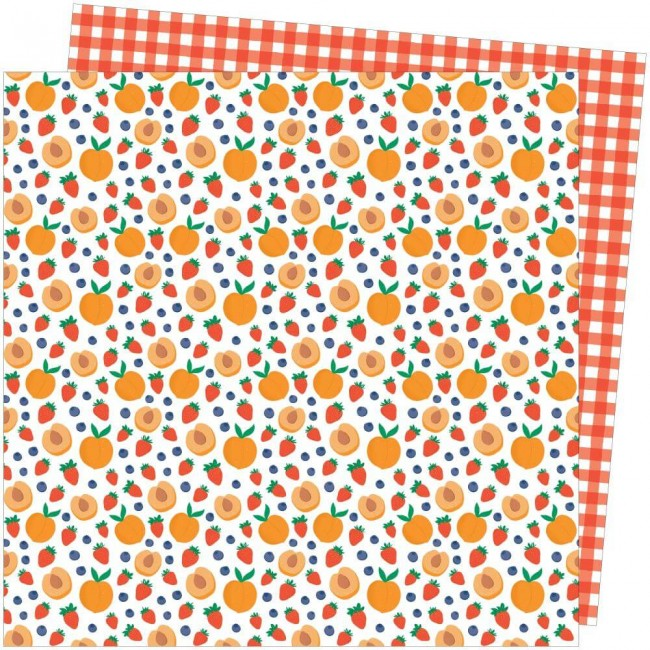 Papel Estampado Doble Cara 12x12 Picnic In The Park Amy Tangerine Peach Pit